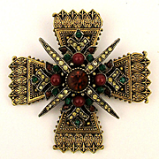 Signed ART Maltese Cross Jeweled Rhinestone Pin Brooch