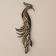 Art Deco 5.5 Inch Sterling Silver PEACOCK Pin Brooch