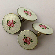 Vintage Guilloche Enamel Sterling Silver Cufflinks Double Links