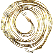 Native American Long Liquid 12K Gold-Filled Bead Necklace