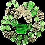 Art Deco Czech Glass Crystal Bead Necklace