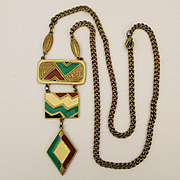 1960s Enamel Triple Drop Dangle Pendant Necklace