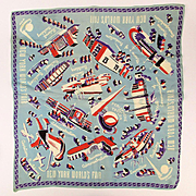 1939 New York World's Fair Rayon Scarf - Great Graphics Art Deco