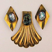 Modernist Goldtone Pin - Earrings Set w/ Abalone
