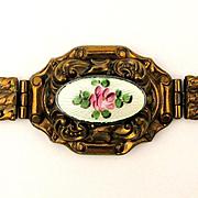 c1940 Victorian Style Bracelet w/ Enamel Rose