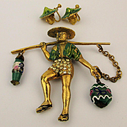 Rare 1941 Louis C. Mark Rice Weiner Chinese Water Carrier Pin Brooch w/ Earrings Book Piece