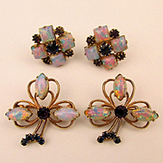 Oddball Vintage Jeweled Set Pair Scatter Pins w/ Earrings Opal Rhinestones