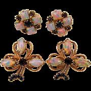 Oddball Vintage Jeweled Set Pair Scatter Pins w/ Earrings Opal Rhinestones