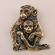 Vintage EFS 925 Mexico MONKEY Pin Mom w/ Baby Monkeys