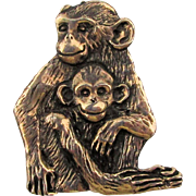 Vintage EFS 925 Mexico MONKEY Pin Mom w/ Baby Monkeys