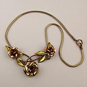 Krementz Gold Overlay Necklace of Roses