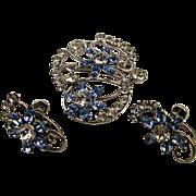 Vintage Carl Art Sterling Silver Pin Pendant - Earrings Set Rhinestones
