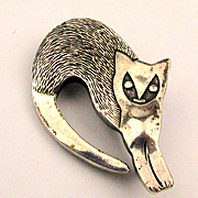 Sterling Silver Curled Cat Pin Pendant Brooch Figural