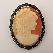 800 Silver Carved Shell Cameo Lady Pin - Mega Curls  - Marcasite Frame