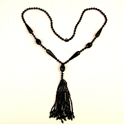 1920s Art Deco Jet Black Bead Flapper Necklace w/ Tassel