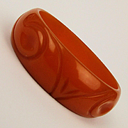 1930s Carved Bakelite Bangle Bracelet Luscious Orange