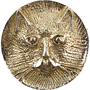Great Old Hammered Sterling Silver CAT FACE Pin Brooch