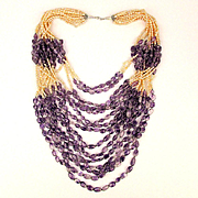 Fantastic 15 Strand Freshwater Pearl - Amethyst Bead Necklace