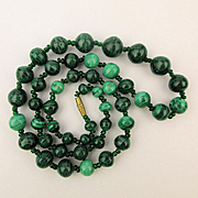 Vintage Malachite Bead Necklace - Swirling Rocks of Green