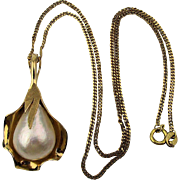 Estate 14K Gold Pendant Necklace Big Real Pearl in a Leaf