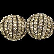 Vintage Ciner Clip Earrings - A Glitterfest of Crystal Rhinestones