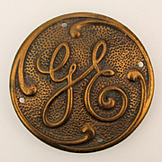 Large Old General Electric ~GE~ Solid Brass Belt Buckle