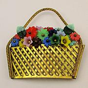 1930s Czech Golden Basket Pin Filled w/ Glass Flowers