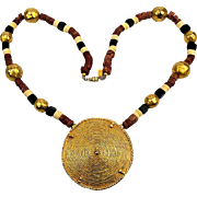 Kenneth Lane Bold Golden Medallion Stone Bead Necklace Tribal Exotica KJL
