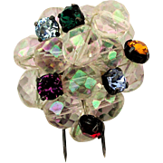 Art Deco Depose French Rhinestone Crystal Bead Ball Fur Clip