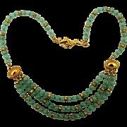 Vintage Jade Bead Necklace w/ Gilt Fish Clasp