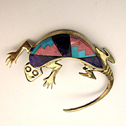 Navajo Sterling Silver Inlaid Lizard Pin Signed AY - Alvin Yazzie