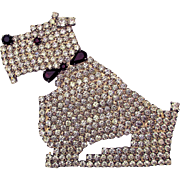 Vintage Pave Rhinestone Scottie Dog Pin Brooch Scotty
