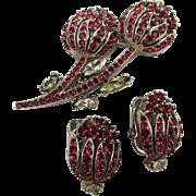 Vintage Crown Trifari Rhinestone Pin Earrings Set c1940s