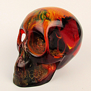 Vintage End of Day Solid Bakelite Skull - Multi Color Paperweight Decor