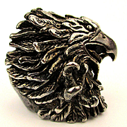 Big Detailed EAGLE Sterling Silver Ring Talons Beak Amazing