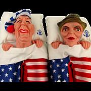 1988 Ronald Nancy Reagan Slippers Flag Shoes Puppets Large Unworn Orig. Bag