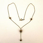 Dainty 14K Gold Filigree Ball Drop Necklace
