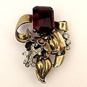 Heavy Art Deco Sterling Silver Rhinestone Pin w/ Big Red Rock