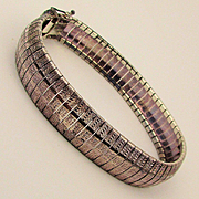 Sleek Italian Woven Sterling Silver Band Bracelet