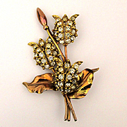 Big Fabulous Rhinestone Flower Pin Brooch