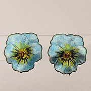 Pretty Vintage Sterling Enamel PANSY Earrings Silver