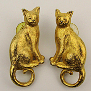 Vintage J.J. Jonette Gilded CAT Figural Earrings