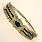 Sterling Silver Mexican Hinge Bangle Bracelet w/ Turquoise Chip Inlay