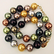 KJL Multi Color Big Faux Pearl Bead Necklace by Kenneth Lane