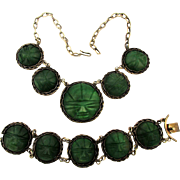 Early Mexican Sterling Silver Jadeite Masks Necklace - Bracelet Set