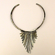 Modernist Sterling Silver Torque Necklace w/ Hammered Dangles