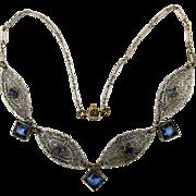 1920s Art Deco Filigree Faux Sapphire Rhinestone Necklace