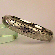 Nice Old Signed WEH Sterling Silver Hinge Bracelet Etched