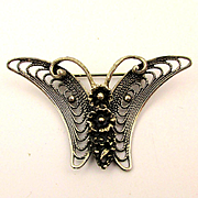 BEAU Sterling Silver Filigree Butterfly Pin Floral Back