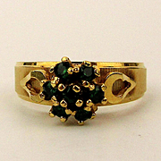 Ladies Estate 14K Gold w/ Emeralds Ring